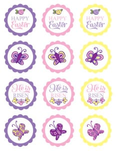 He is Risen Easter Cupcake toppers