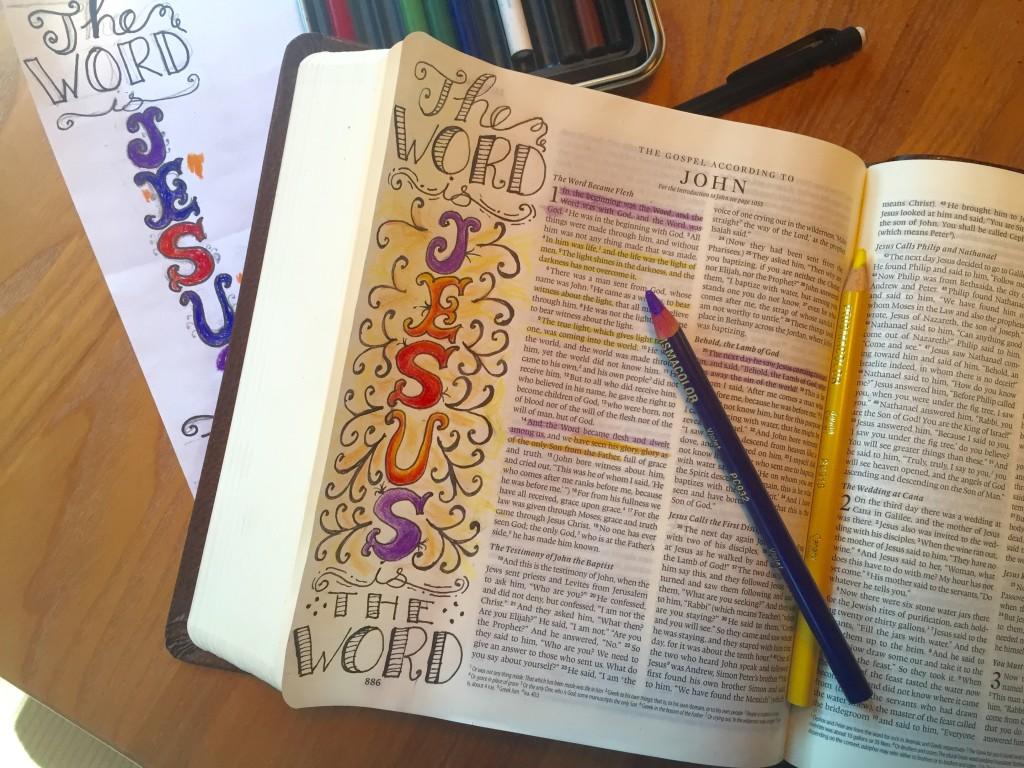 Bible art journaling - Jesus is the Word - step 4