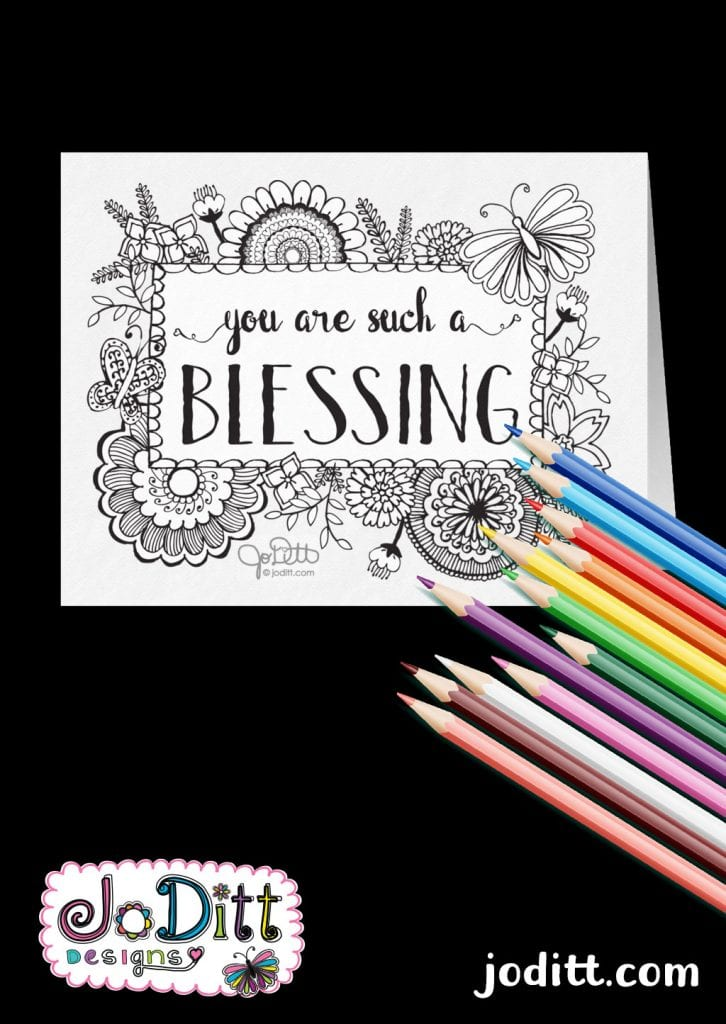 You are such a blessing coloring card