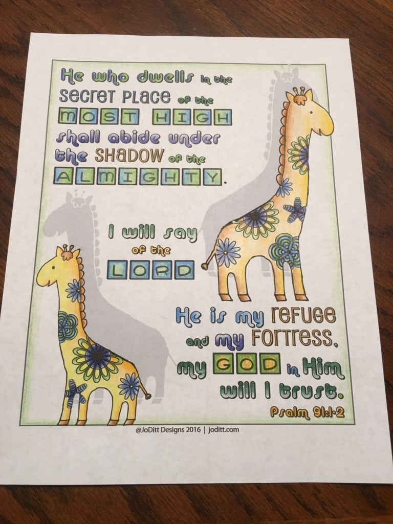 Psalm 91 coloring page