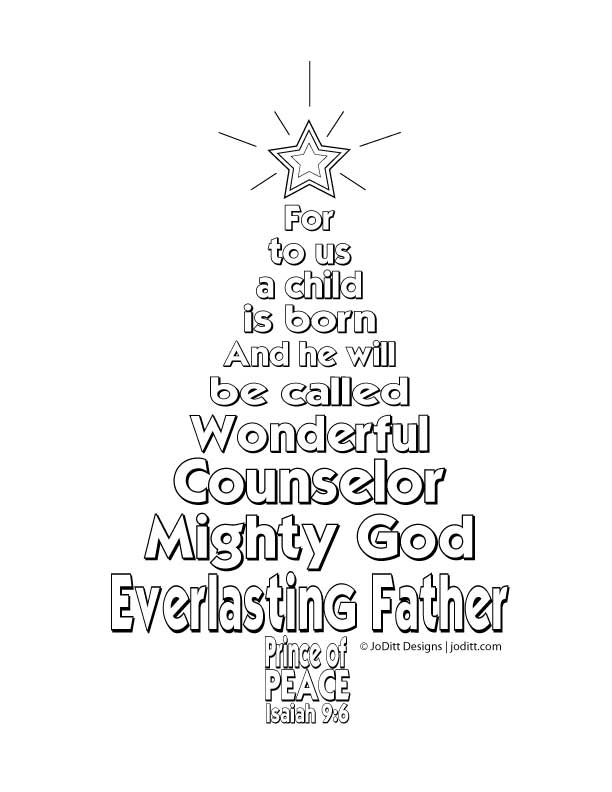 Isaiah 9 6 Christmas Tree Coloring Page Joditt Designs