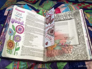 Bible journaling in Inspire Praise Bible during evening routine
