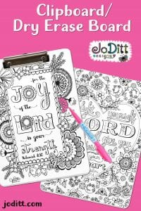 Scripture art coloring clipboard dry erase board