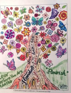 Flourish Bible Journaling Conference coloring page 2018