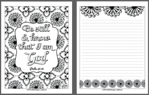 Be still coloring page by JoDitt Designs