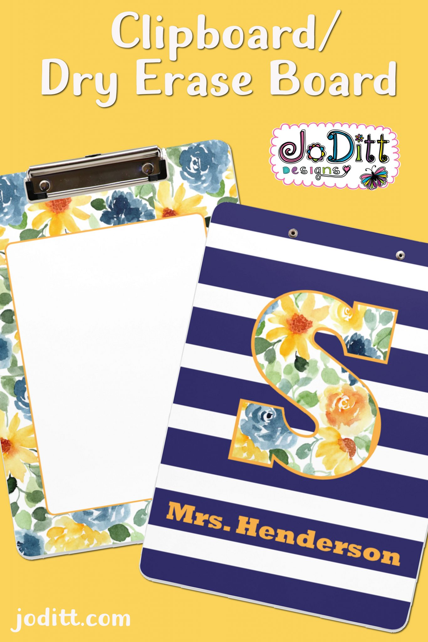 personalized-teacher-gift-clipboard-blue-gold-pin