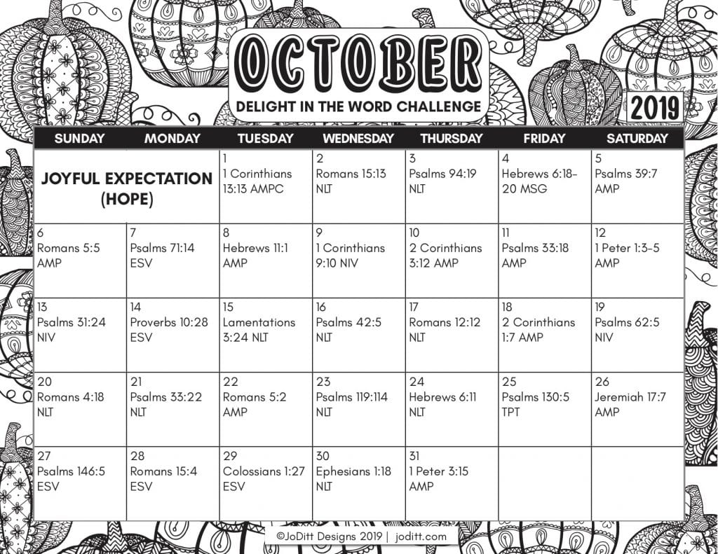 Joyful Expectation - October Delight in the Word Challenge Calendar
