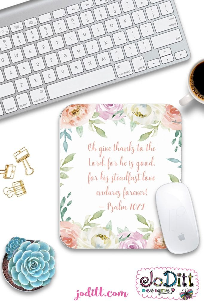 Give Thanks to the Lord floral mousepad by JoDitt Designs