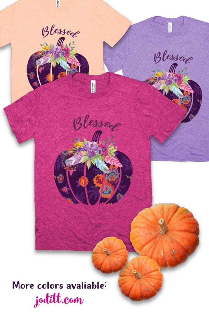 Blessed Boho Pumpkin Shirt by JoDitt Designs
