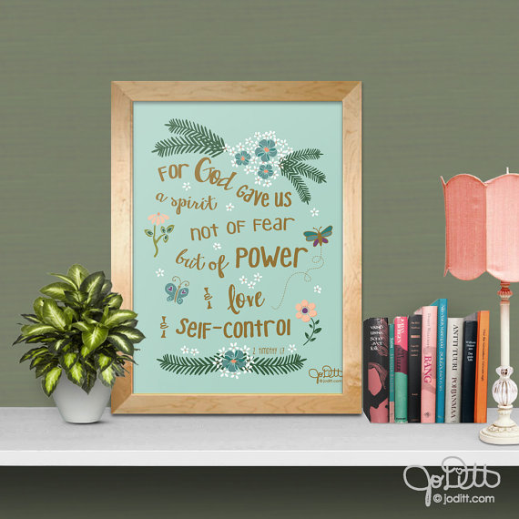 faith over fear Scripture - 2 Timothy 1:7 Bible verse wall art