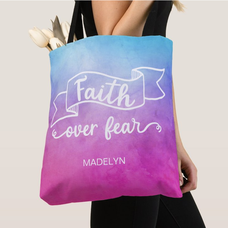Faith over fear tote bag personalized gift