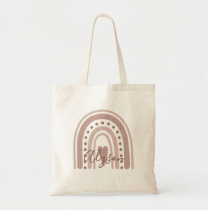 Rose Gold Boho Rainbow Personalized Tote for Teen Girls Women