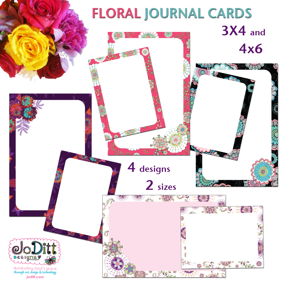 Colorful Doodle Flowers Printable Journal Cards
