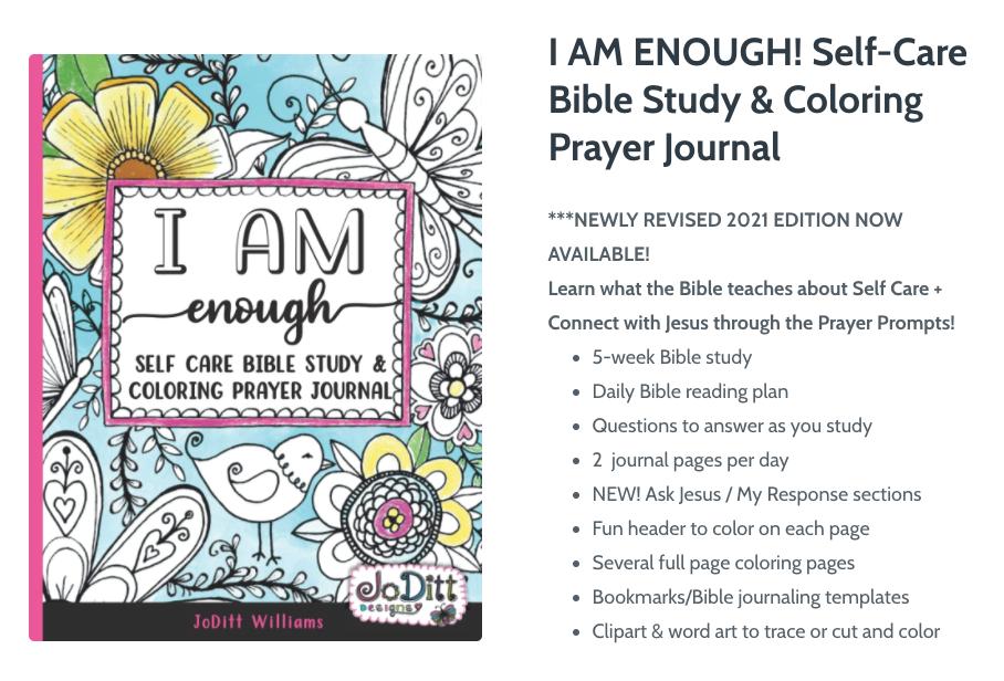 I Am Enough Self Care Bible Study Coloring Prayer Journal