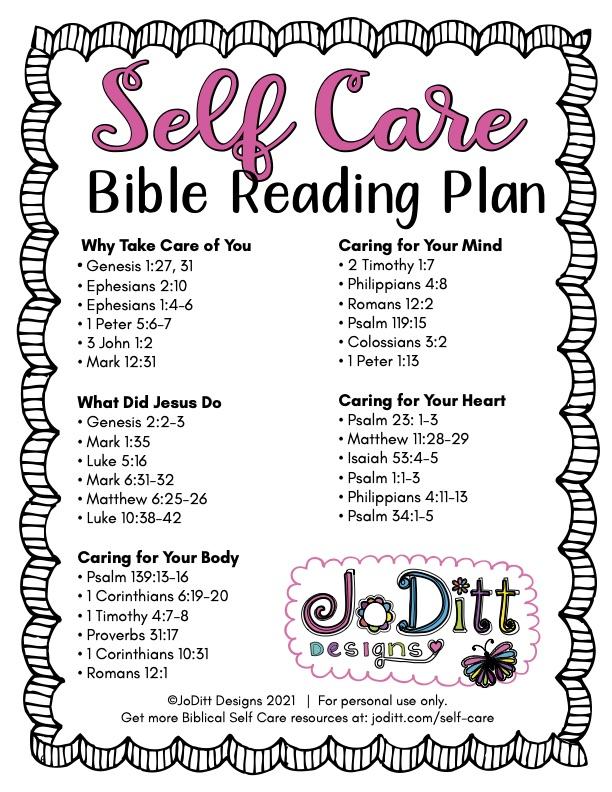 Self Care Bible reading plan